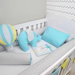 Kit de berço para o bebê completo 9 peças tema elefante e balões chevron + álbum do bebê