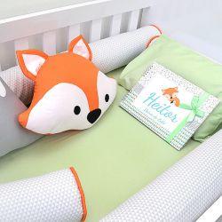Kit de berço para o bebê completo 9 peças tema raposinha  bichinhos da floresta + álbum do bebê
