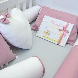Kit de berço para o bebê completo 9 peças tema rosa seco e cinza + álbum do bebê