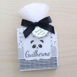Lembrança personalizada bloquinho de anotações e lápis tema panda