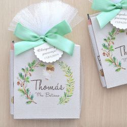 Lembrancinhas de nascimento bloco de anotações e lápis personalizado tema anjinho