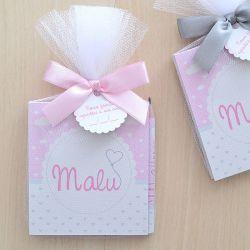 Lembrancinha bloquinho de anotações com lápis tema corações cinza e rosa para menina