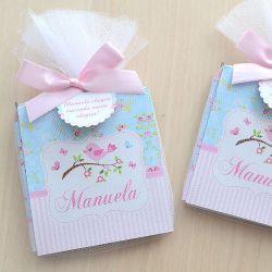 Lembrancinha de menina maternidade ou nascimento bloquinho de anotações tema jardim e passarinhos