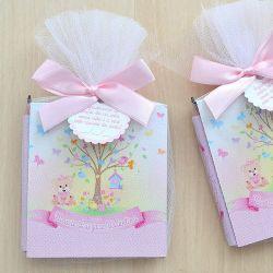 Lembrancinhas para meninas  bloquinho de anotações com lápis tema jardim encantado e passarinhos