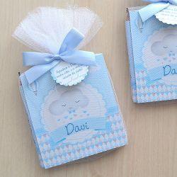 Lembrancinha de nascimento para menino bloco de anotações e lápis tema chuva de amor e nuvens