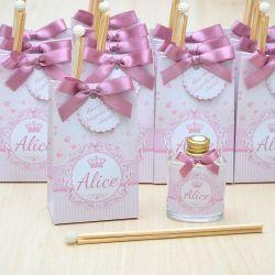 Lembrancinha caixinha com difusor de ambiente tema floral rosa seco
