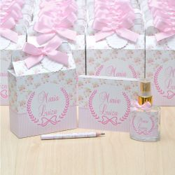 Lembrancinha  caixinha home spray e bloquinho de anotações luxo tema floral