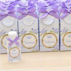 Lembrancinha de maternidade caixinha com álcool gel floral lilás