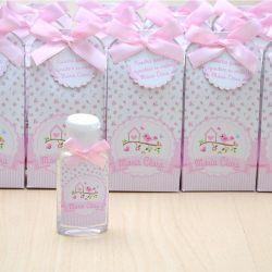 Lembrancinha de maternidade caixinha com álcool gel jardim e passarinhos