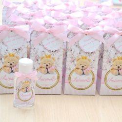 Lembrancinha de maternidade caixinha com álcool gel ursinha princesa