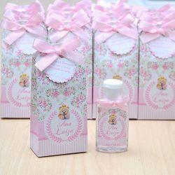 Lembrancinha de maternidade caixinha com álcool gel ursinha princesa floral