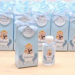 Lembrancinha de maternidade caixinha com álcool gel ursinho príncipe