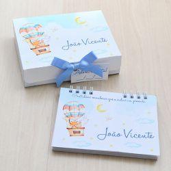 Lembrancinha de maternidade diário/caderno da gratidão tema balões e bichinhos