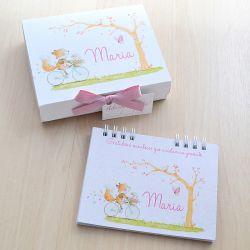 Lembrancinha de maternidade diário/caderno da gratidão tema bichinhos da floresta