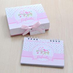 Lembrancinha de maternidade diário/caderno da gratidão tema jardim e passarinhos