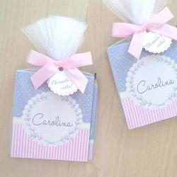 Lembrancinha de nascimento bloquinho de anotações com lápis tema cinza e rosa