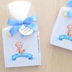 Lembrancinha de nascimento bloquinho de anotações com lápis tema ursinho e balão