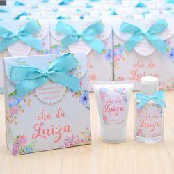 Lembrancinha de nascimento kit com hidratante e álcool em gel tema floral aquarela