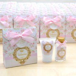 Lembrancinha de nascimento kit com hidratante e álcool em gel tema floral e brasão