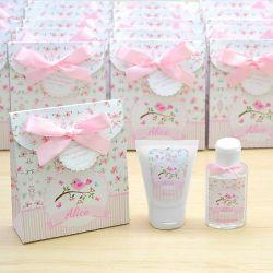Lembrancinha de nascimento kit com hidratante e álcool em gel tema floral e jardim