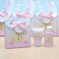 Lembrancinha de nascimento kit com hidratante e álcool em gel tema jardim