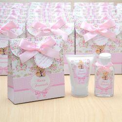 Lembrancinha de nascimento kit com hidratante e álcool em gel tema ursinha floral