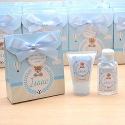 Lembrancinha de nascimento kit com hidratante e álcool em gel tema ursinho principe
