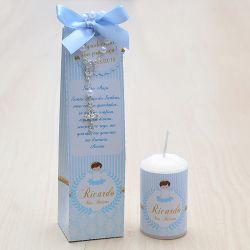 Lembrancinha para batismo menino caixinha com vela e mini terço  tema anjinho