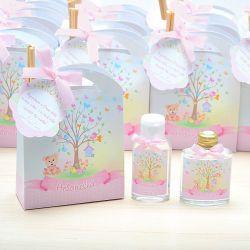 Lembrancinha personalizada caixinha com difusor e ambiente e álcool em gel tema jardim e passarinhos