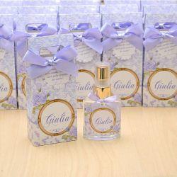 Lembrancinha personalizada caixinha home spray luxo tema floral lilás