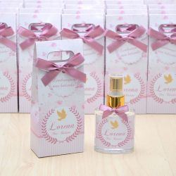 Lembrancinha personalizada caixinha home spray luxo tema floral rosa seco
