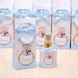 Lembrancinha personalizada caixinha home spray luxo tema ursinho principe