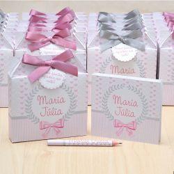 Lembrancinhas maternidade caixinha com bloquinho de anotações cinza e rosa seco