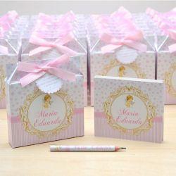 Lembrancinhas maternidade caixinha com bloquinho de anotações tema anjinha