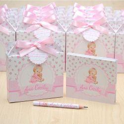 Lembrancinhas maternidade caixinha com bloquinho de anotações tema bonequinha