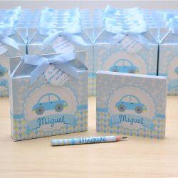 Lembrancinhas maternidade caixinha com bloquinho de anotações tema carrinhos