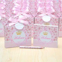 Lembrancinhas maternidade caixinha com bloquinho de anotações tema floral e coroa