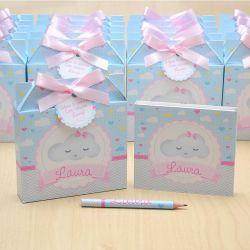 Lembrancinhas maternidade caixinha com bloquinho de anotações tema nuvem chuva de amor