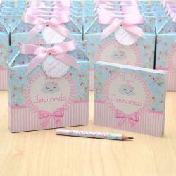 Lembrancinhas maternidade caixinha com bloquinho de anotações tema nuvem chuva de amor floral