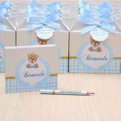 Lembrancinhas maternidade caixinha com bloquinho de anotações tema ursinho