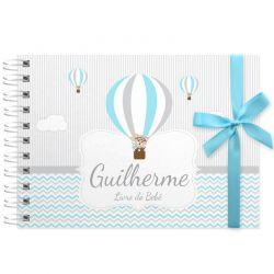 Livro do Bebê - diário para registrar momentos especiais personalizado no tema balões
