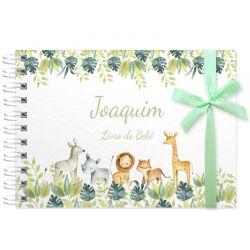 Livro do Bebê - diário para registrar momentos especiais personalizado no tema balões e bichinhos do safari