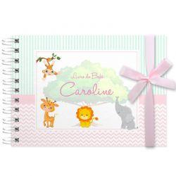 Livro do Bebê - diário para registrar momentos especiais personalizado no tema bichinhos do safari