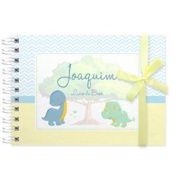 Livro do Bebê - diário para registrar momentos especiais personalizado no tema dinossauros baby