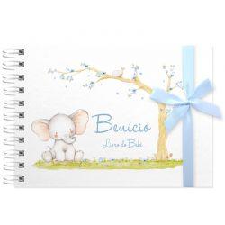 Livro do Bebê - diário para registrar momentos especiais personalizado no tema elefantinho