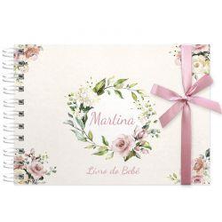Livro do Bebê - diário para registrar momentos especiais personalizado no tema floral rosa seco