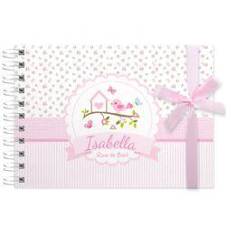 Livro do Bebê - diário para registrar momentos especiais personalizado no tema jardim e passarinhos