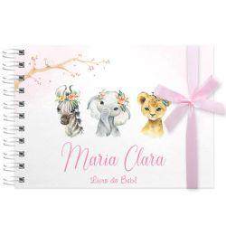 Livro do Bebê - diário para registrar momentos especiais personalizado no tema safari menina