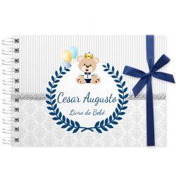 Livro do Bebê - diário para registrar momentos especiais personalizado no tema ursinho e balões