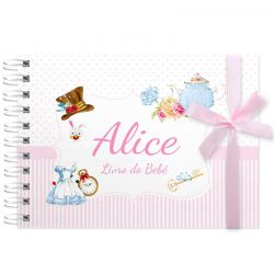 Livro do Bebê - diário para registrar momentos especiais personalizado tema Alice no país das maravilhas